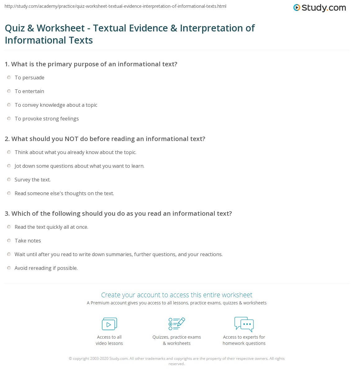 Quiz & Worksheet Textual Evidence & Interpretation of