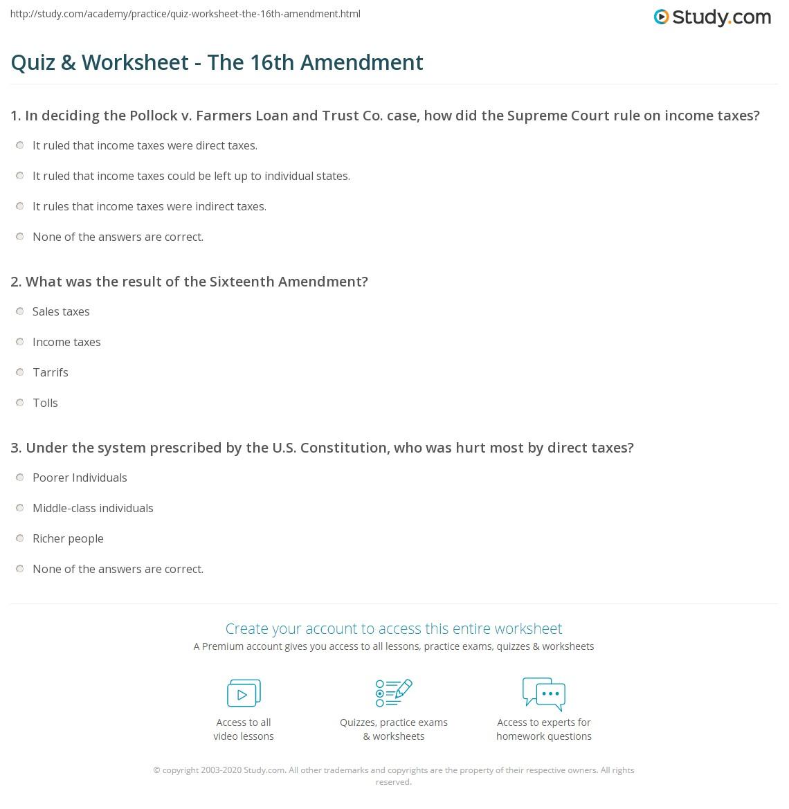 Print The 16th Amendment: Definition, Summary & Ratification Worksheet