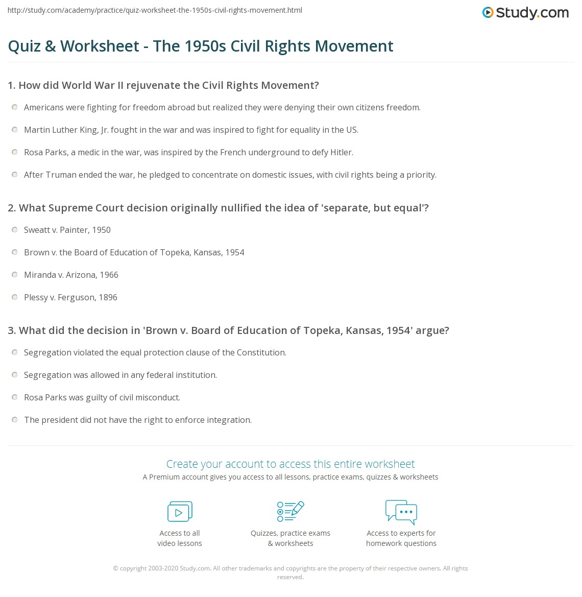 photograph relating to 1950 Trivia Questions and Answers Printable named Quiz Worksheet - The 1950s Civil Legal rights Stream