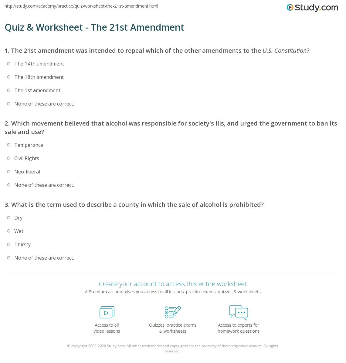 Workbooks us constitution worksheets : Quiz & Worksheet - The 21st Amendment | Study.com