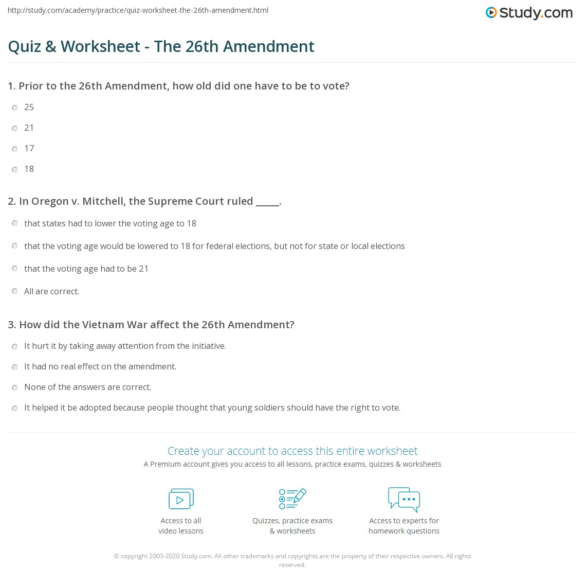 worksheet Amendments Worksheet quiz worksheet the 26th amendment study com print definition history facts court cases worksheet