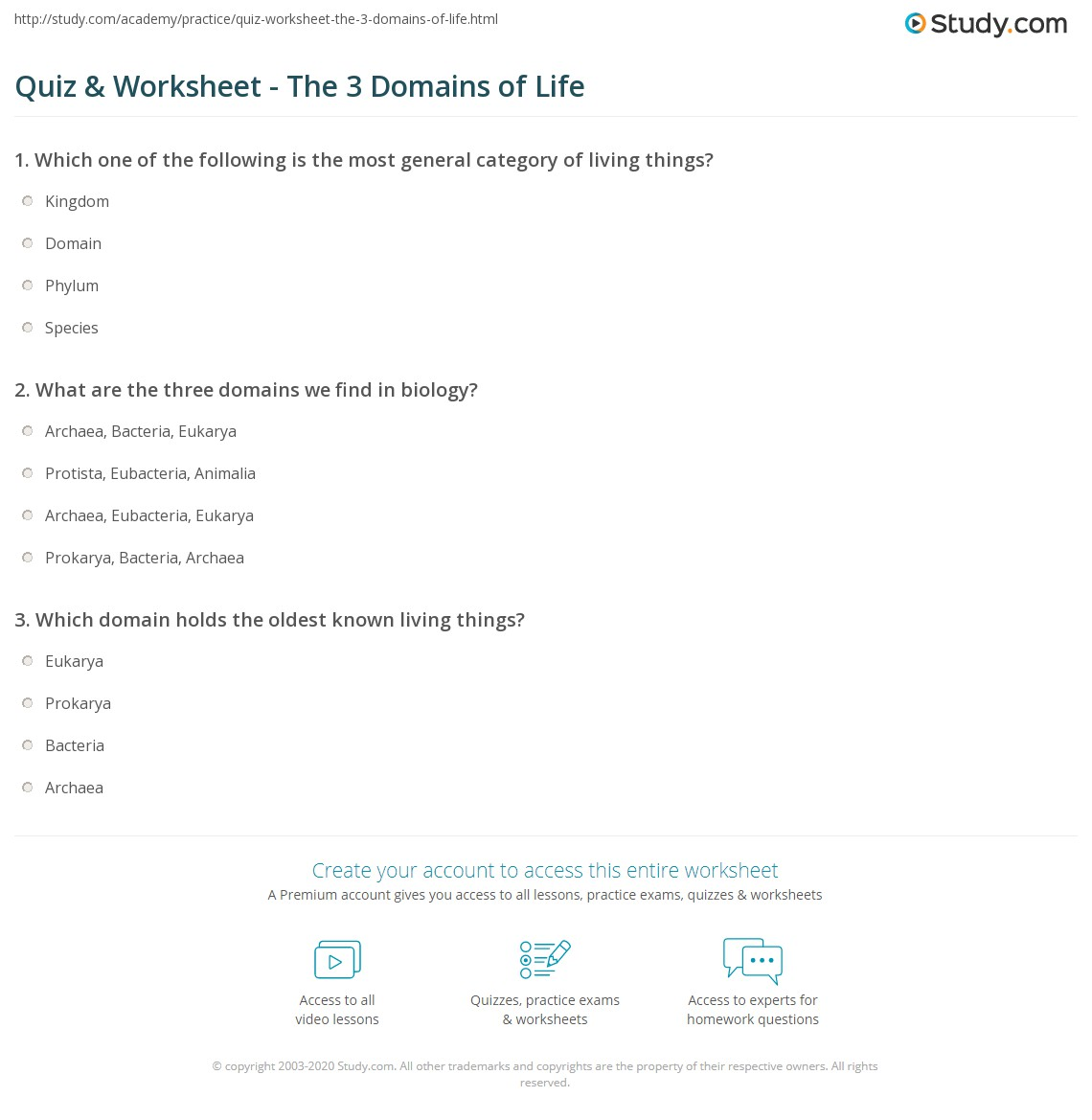 Quiz & Worksheet - The 3 Domains of Life | Study.com