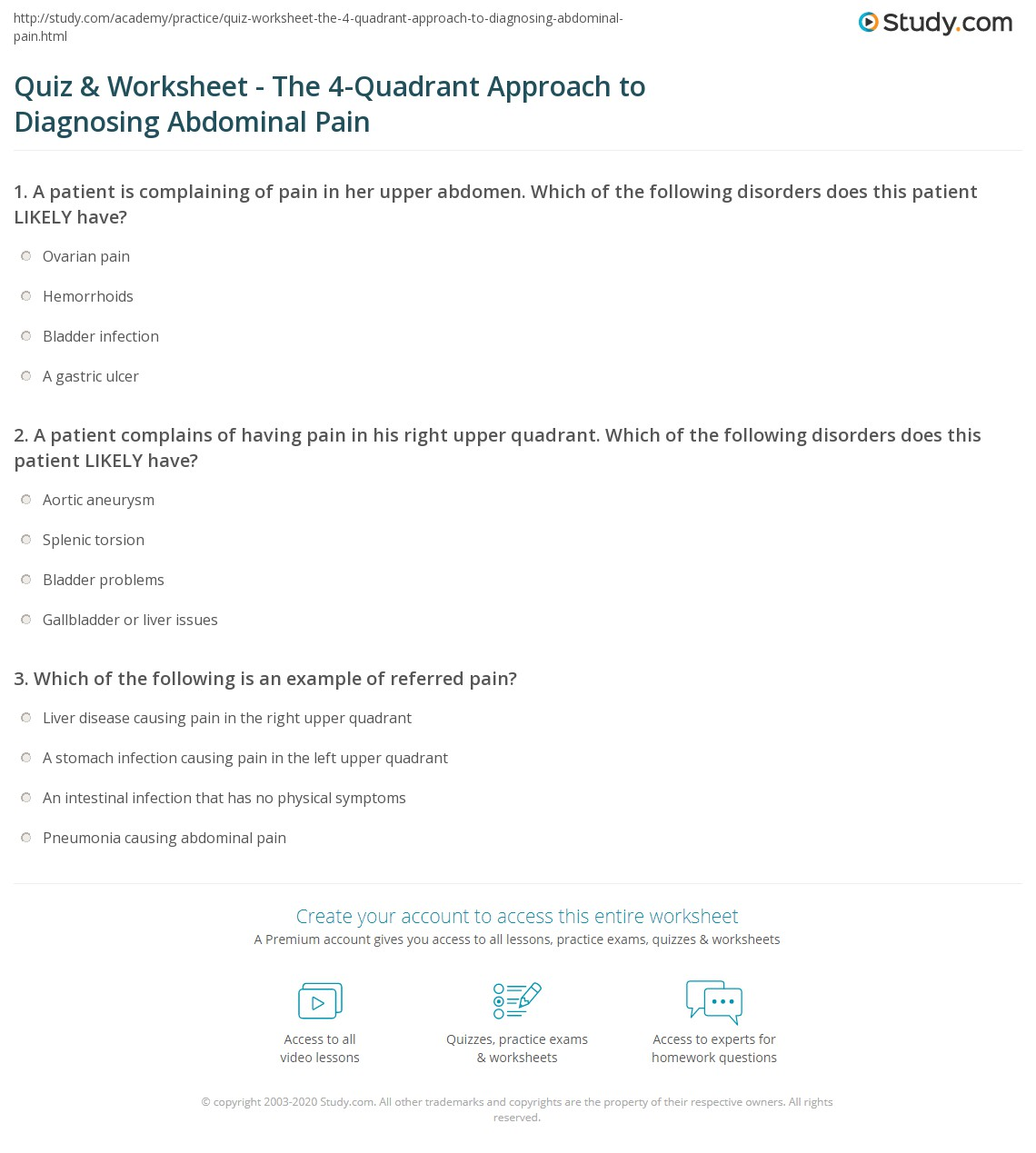Quiz Worksheet The 4 Quadrant Approach To Diagnosing Abdominal