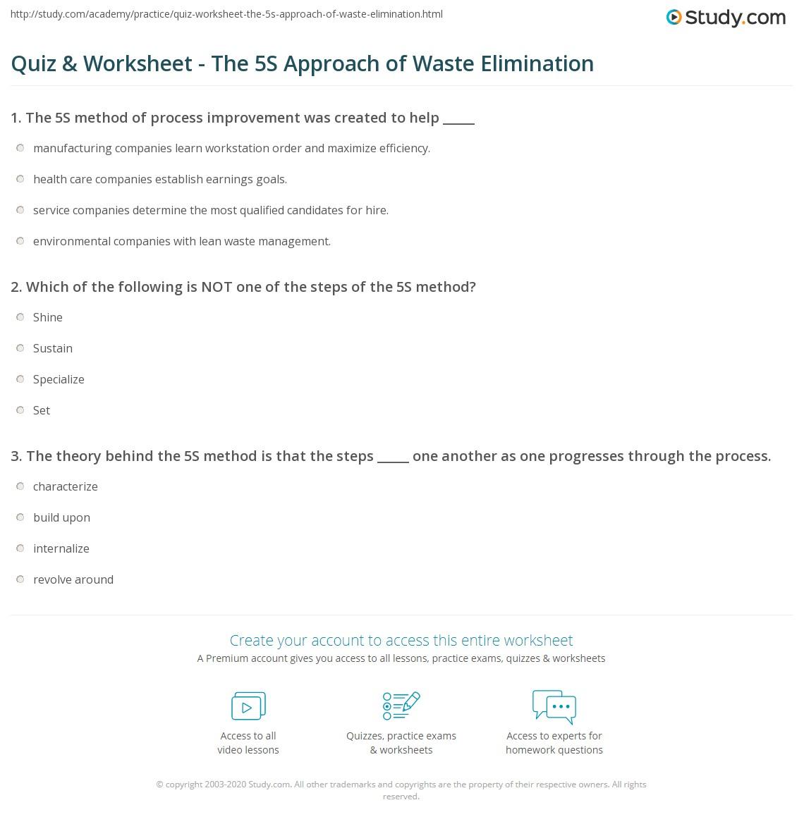 Lean 5s Worksheet : Quiz worksheet the s approach of waste elimination