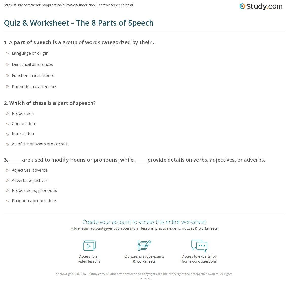 Quiz Worksheet The 8 Parts Of Speech Study