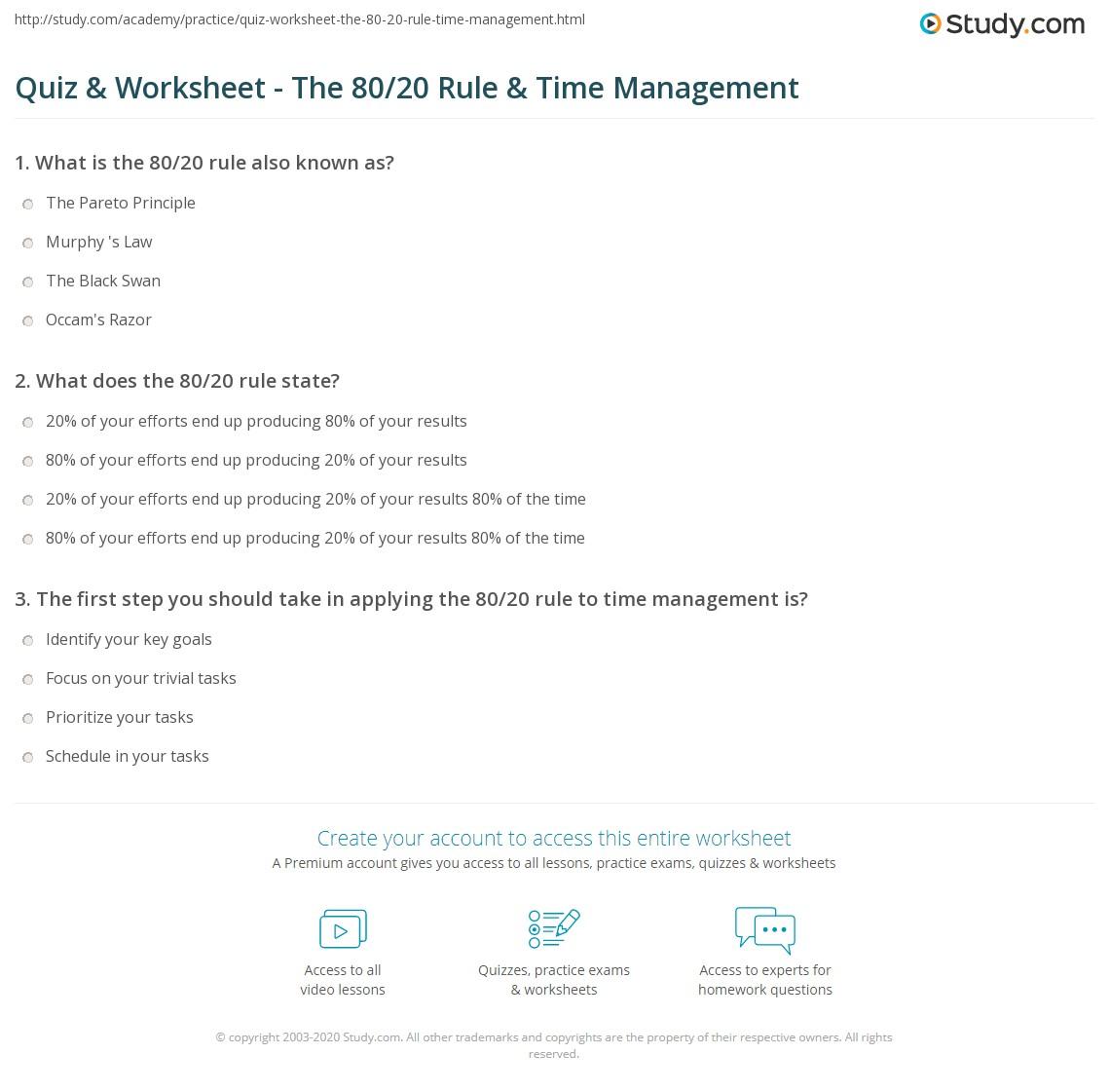 Quiz Worksheet The 80 20 Rule Time Management Study Com
