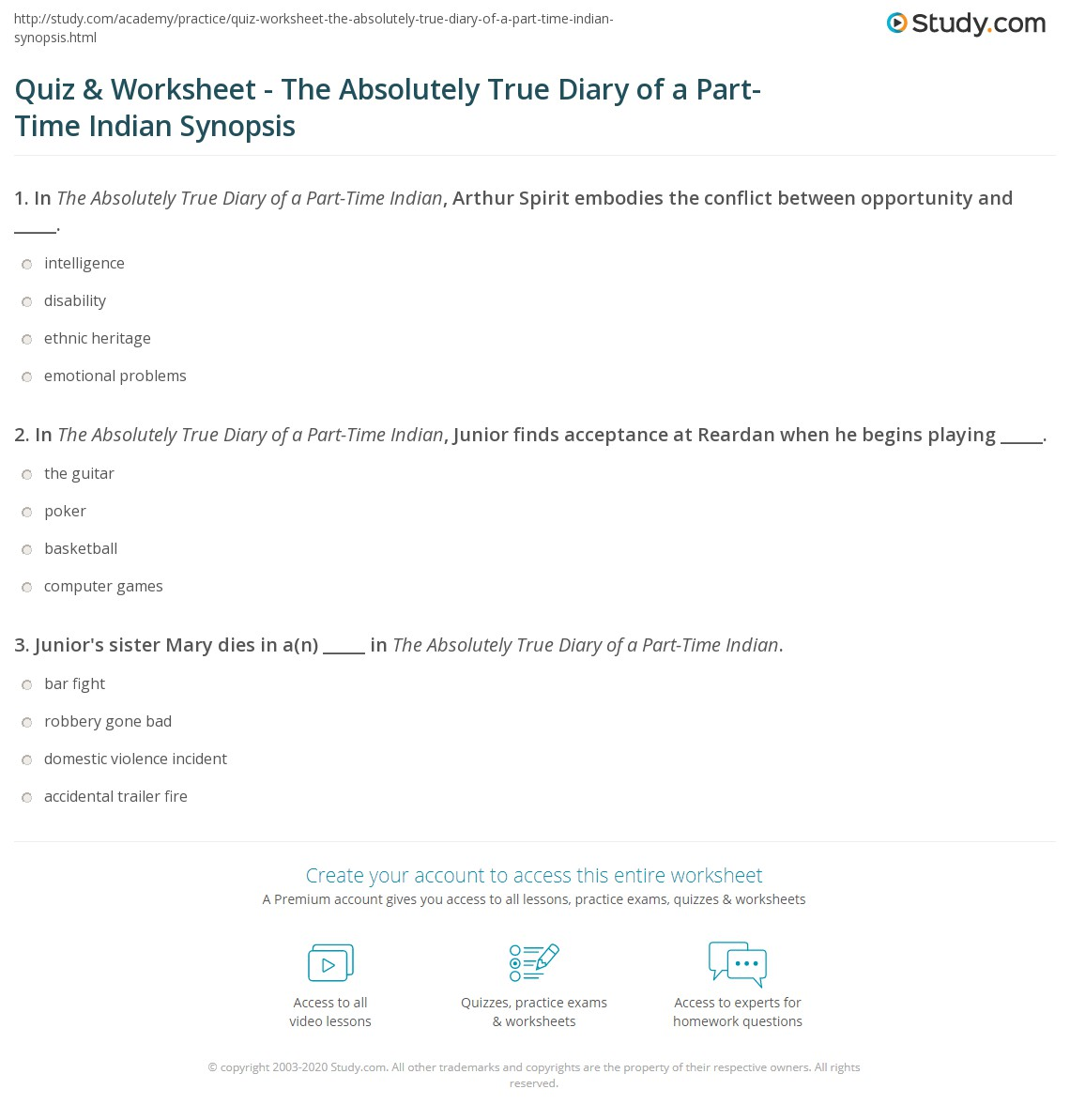 Absolutely True Diary Of A Part Time Indian Quotes Alluring Quiz & Worksheet  The Absolutely True Diary Of A Parttime Indian