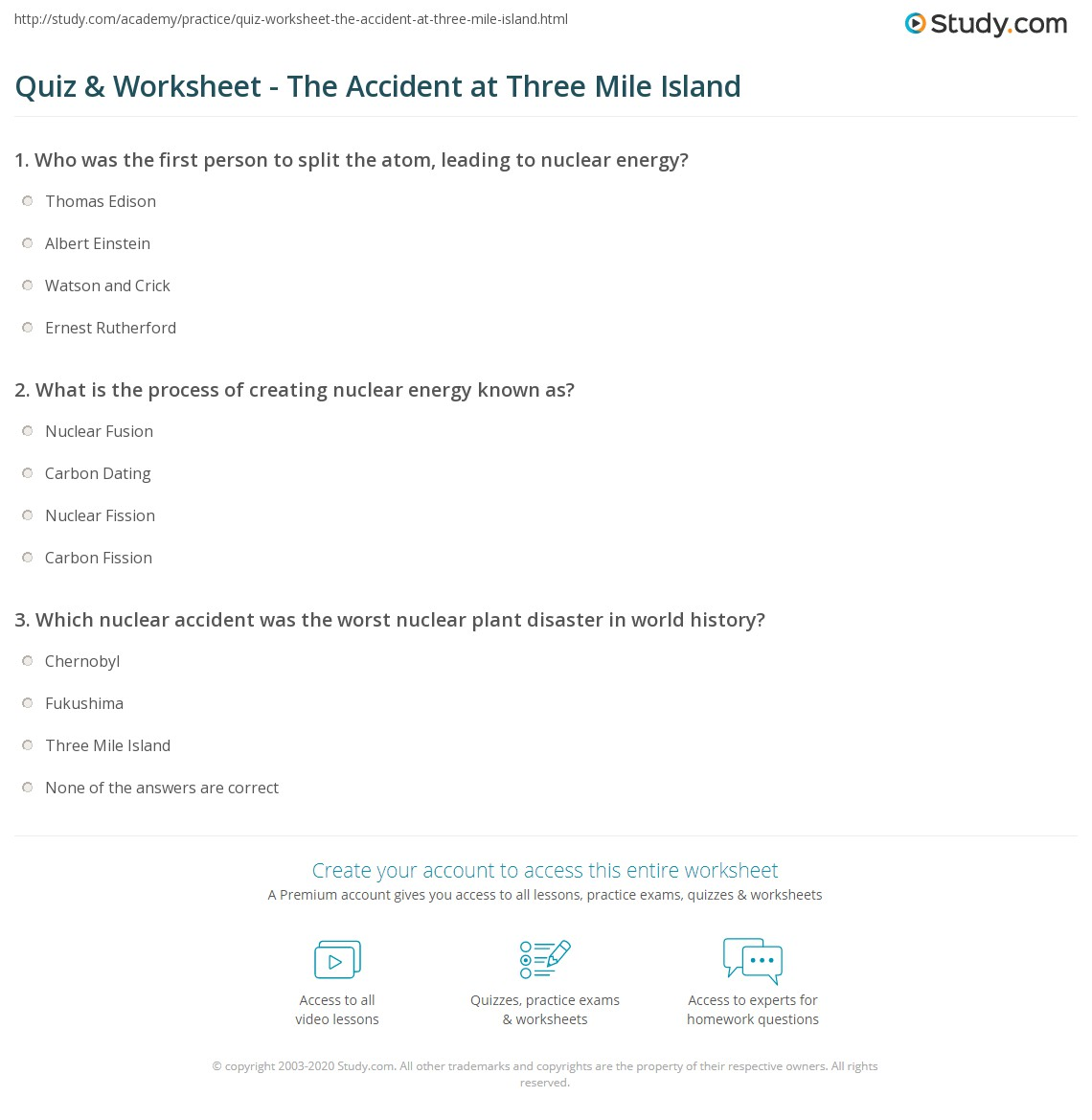 Quiz & Worksheet - The Accident at Three Mile Island | Study.com