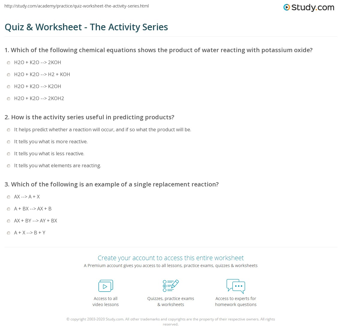 Quiz Worksheet The Activity Series – Predicting Products of Chemical Reactions Worksheet Answers