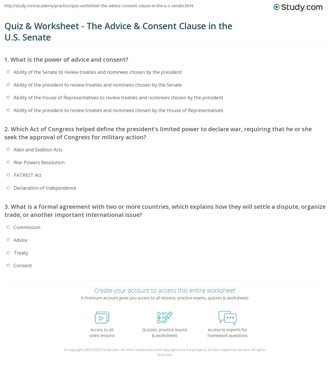 quiz worksheet the advice consent clause in the u s senate. Black Bedroom Furniture Sets. Home Design Ideas