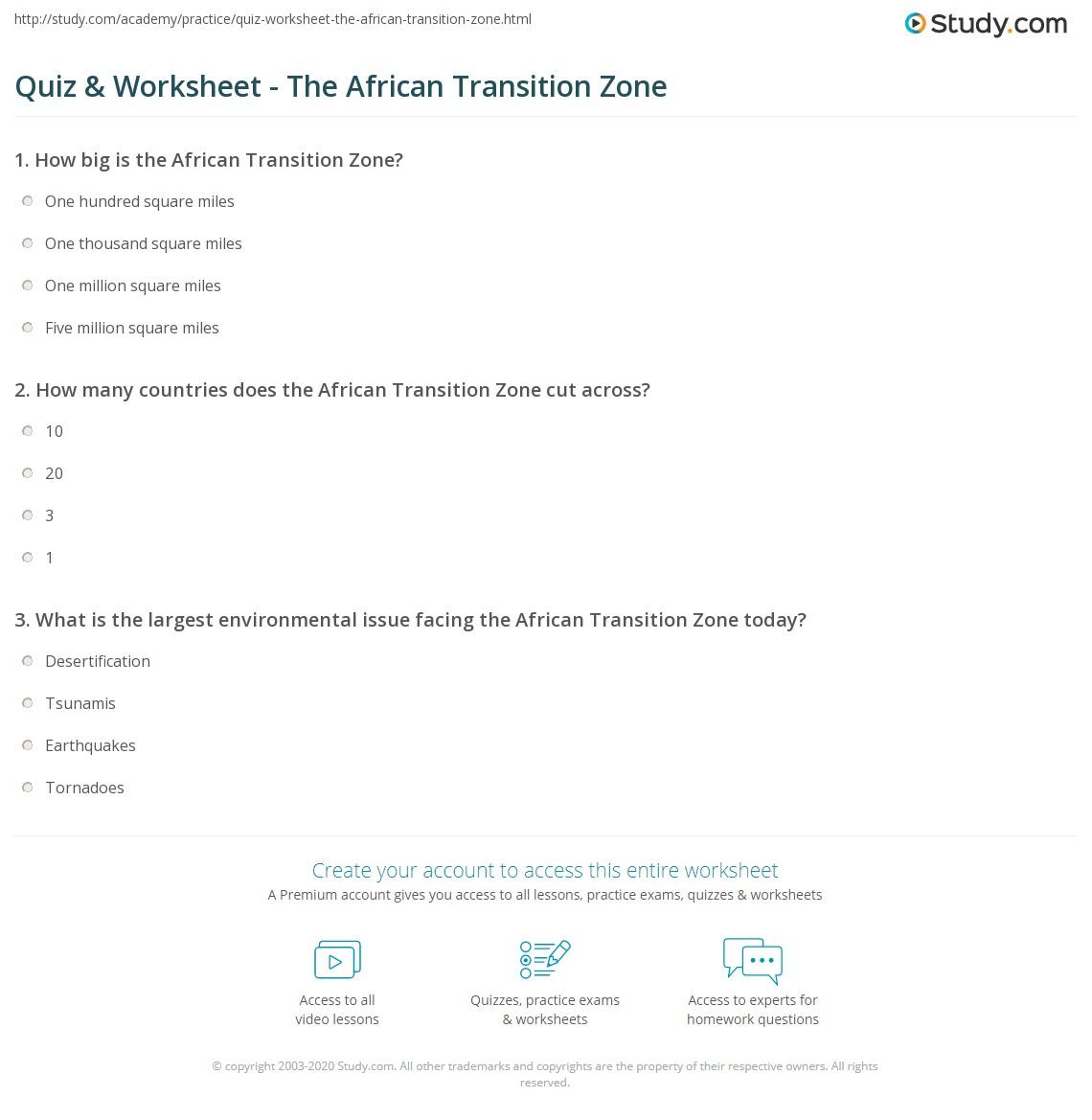 worksheet Africa Map Worksheet quiz worksheet the african transition zone study com print worksheet