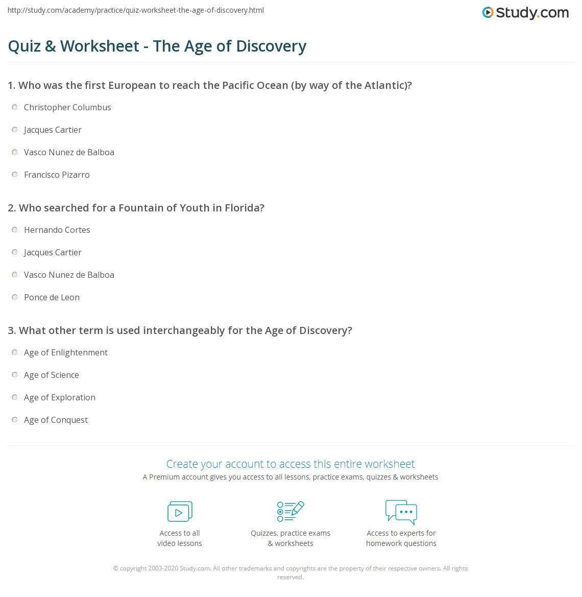 Quiz Worksheet The Age of Discovery – Age of Exploration Worksheets