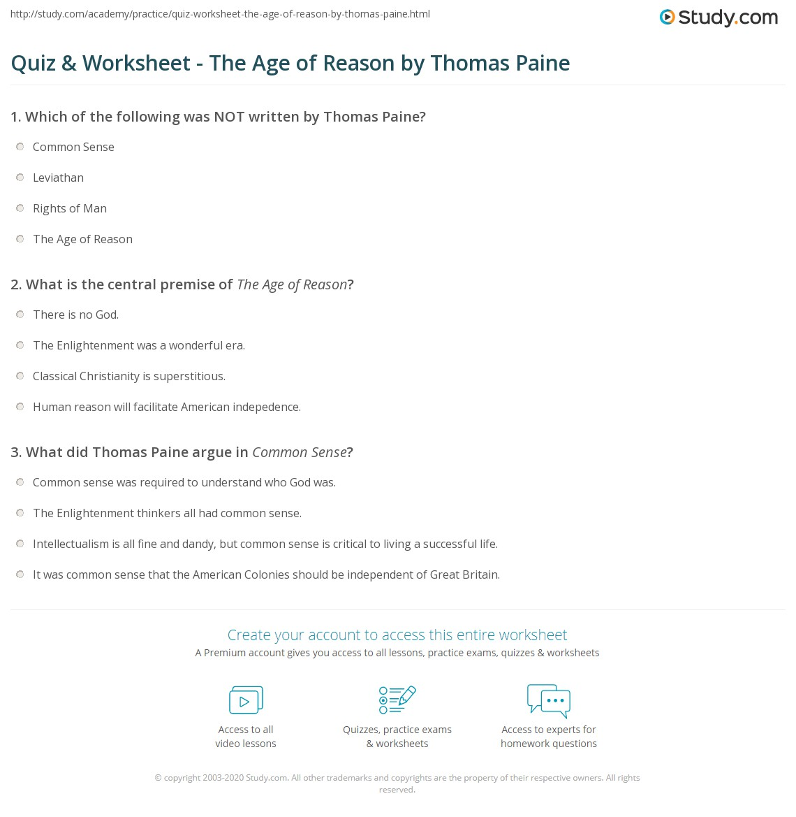 Quiz Worksheet The Age Of Reason By Thomas Paine Study