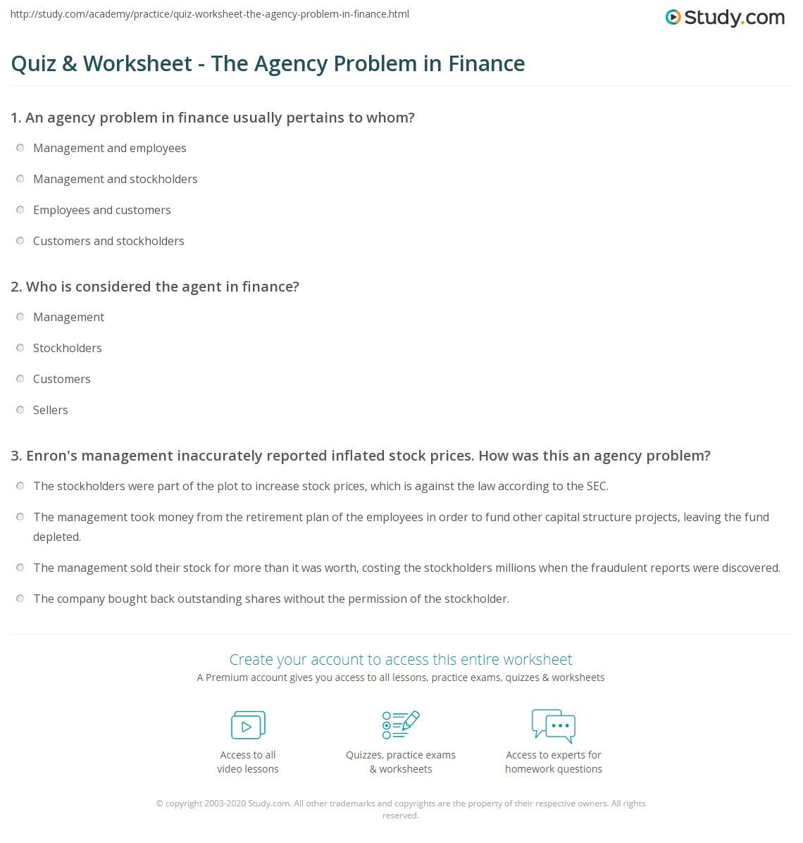 quiz worksheet the agency problem in finance com print the agency problem in finance definition examples worksheet