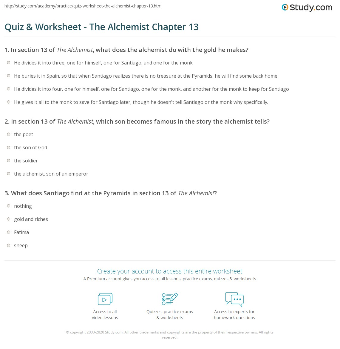 quiz worksheet the alchemist chapter 13 com in section 13 of the alchemist which son becomes famous in the story the alchemist tells