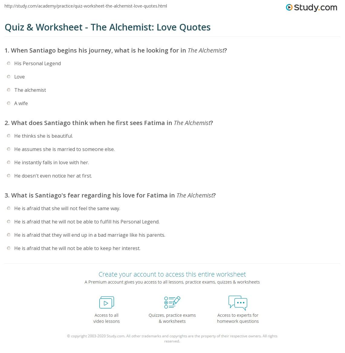 Print The Alchemist Love Quotes Worksheet