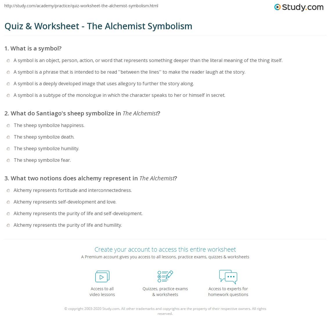 Quiz Worksheet The Alchemist Symbolism Study