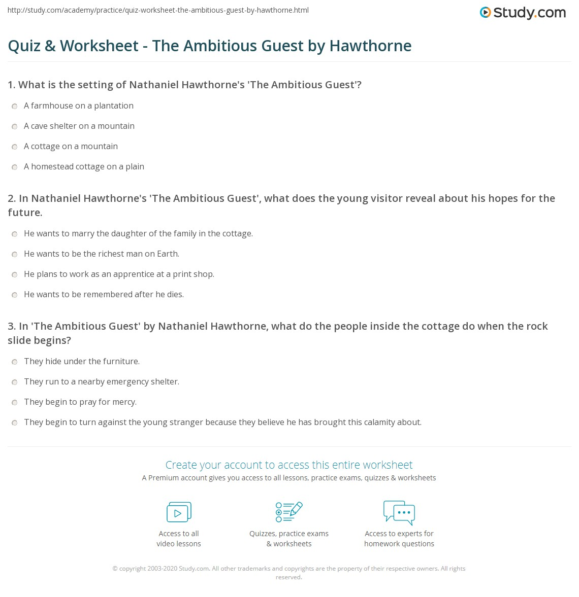 Print The Ambitious Guest: Summary & Theme Worksheet