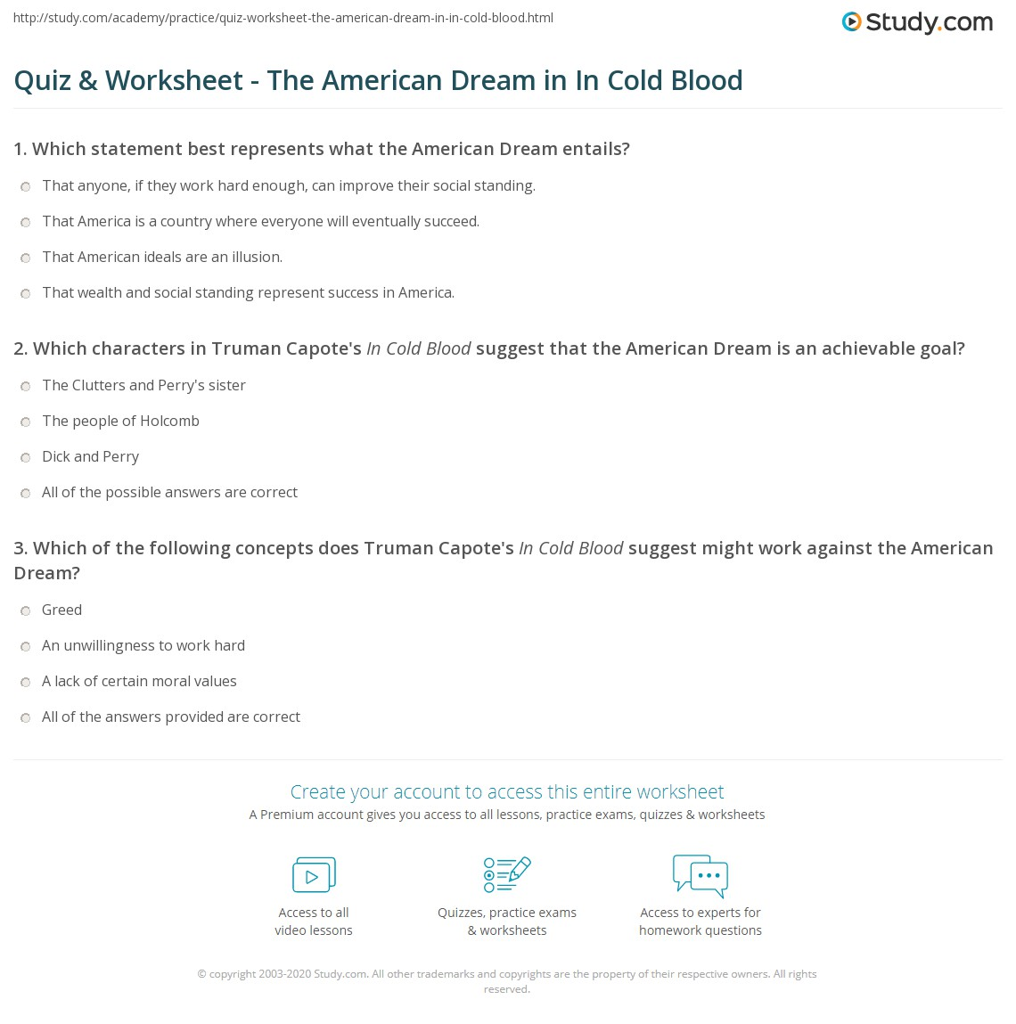 in cold blood essays american dream In this lesson, we will be looking at the theme of the american dream in truman capote's 'in cold blood' in order to do this, we will consider.