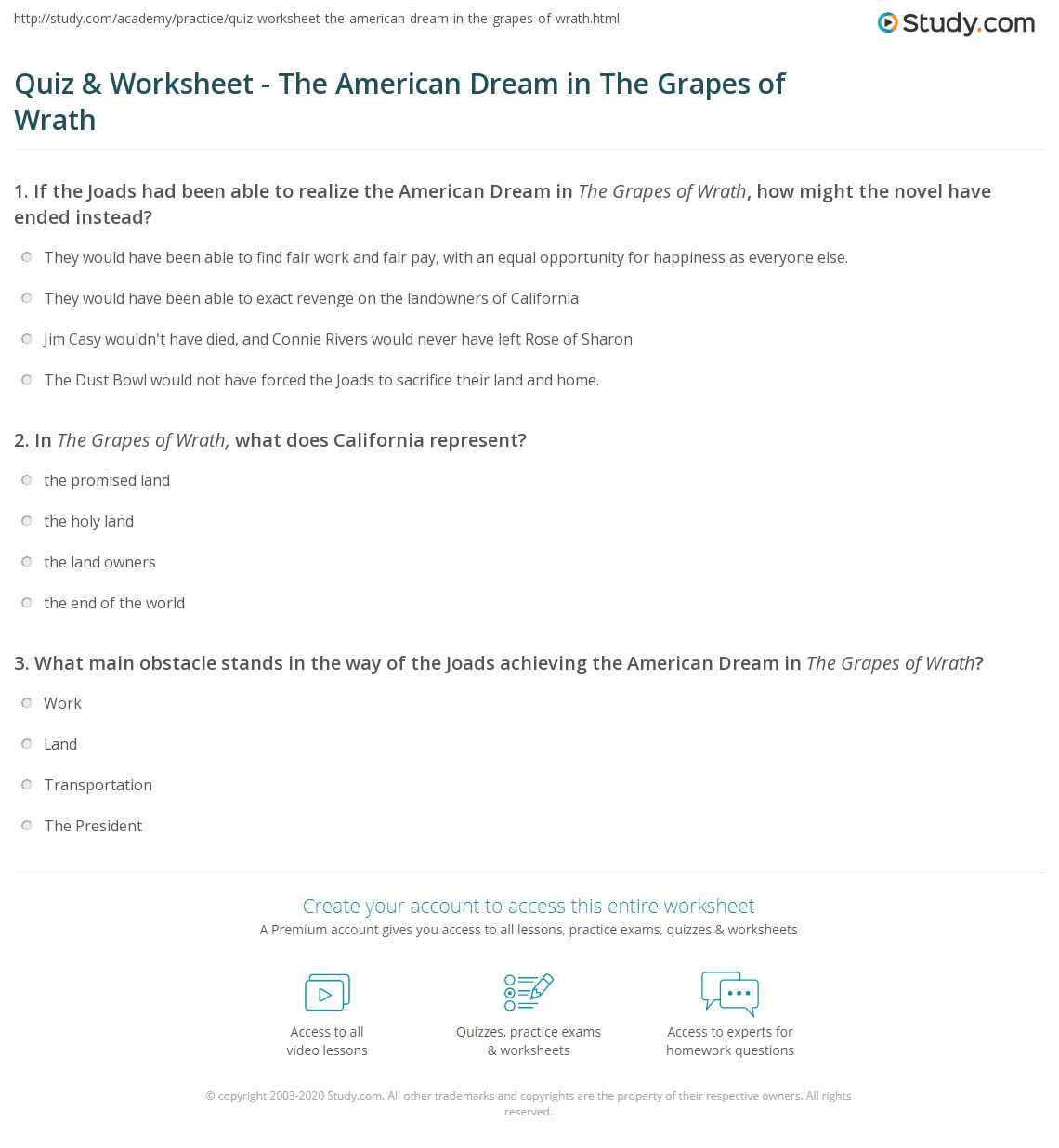 grapes of wrath essay-american dream Sjsu home steinbeck in the schools student resources the grapes of wrath the grapes of wrath - essay questions the in grapes differ from american dream.