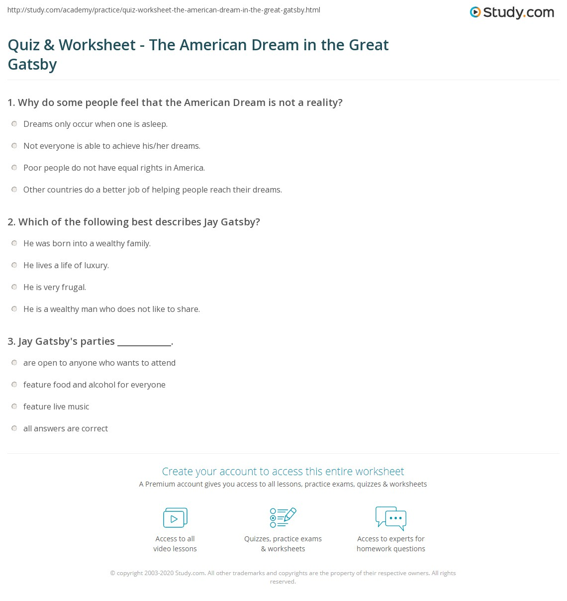 quiz worksheet the american dream in the great gatsby. Black Bedroom Furniture Sets. Home Design Ideas