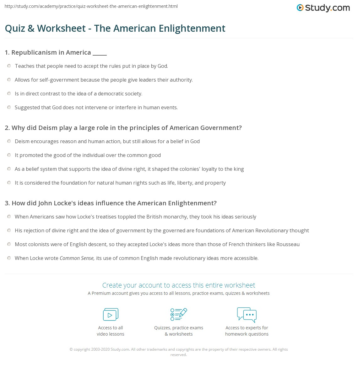 quiz worksheet the american enlightenment. Black Bedroom Furniture Sets. Home Design Ideas