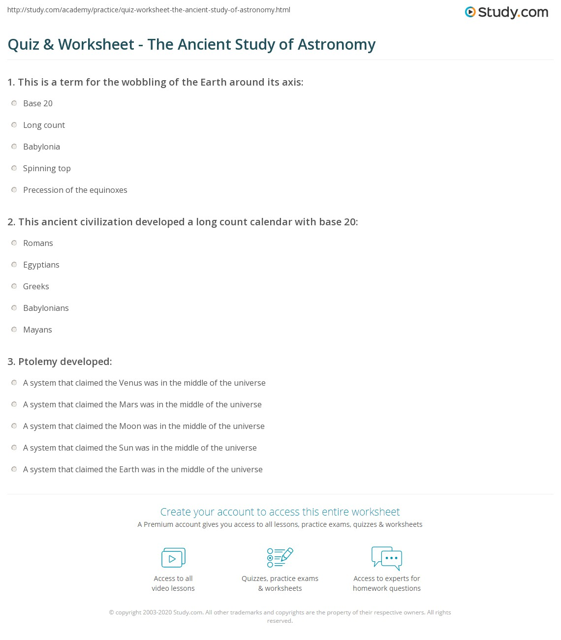 Printables Astronomy Worksheets quiz worksheet the ancient study of astronomy com print worksheet