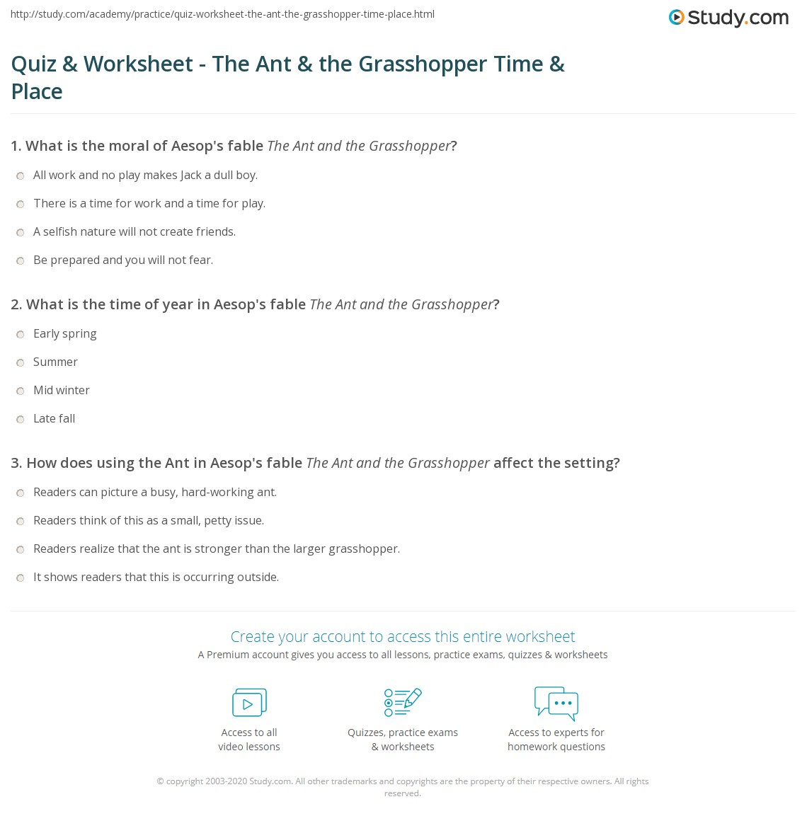 Quiz Worksheet The Ant The Grasshopper Time Place Study