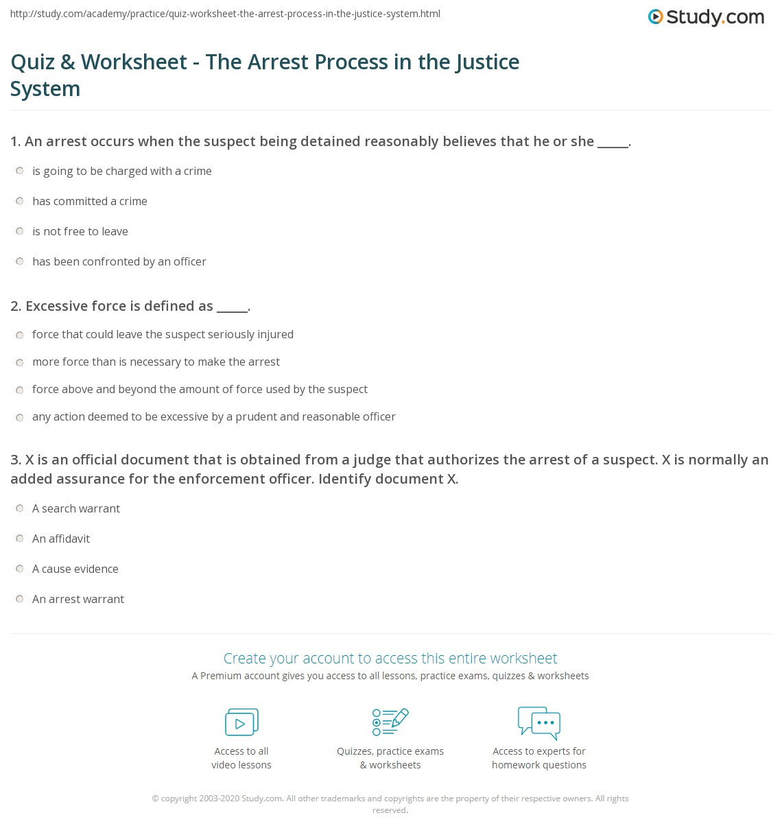Quiz & Worksheet - The Arrest Process in the Justice System   Study.com