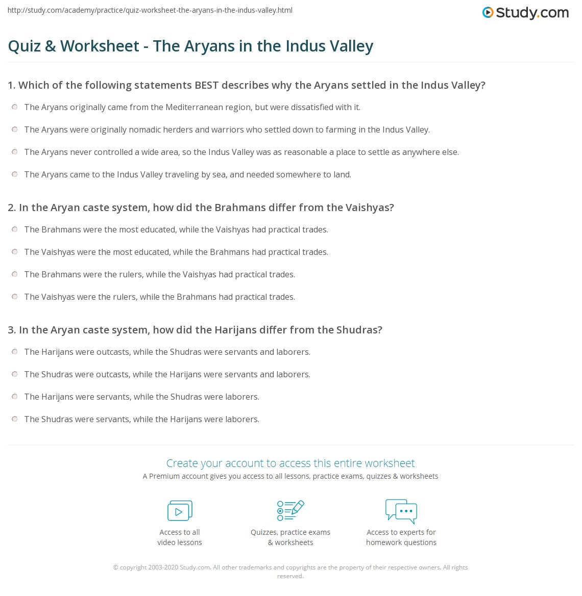 quiz worksheet the aryans in the indus valley. Black Bedroom Furniture Sets. Home Design Ideas