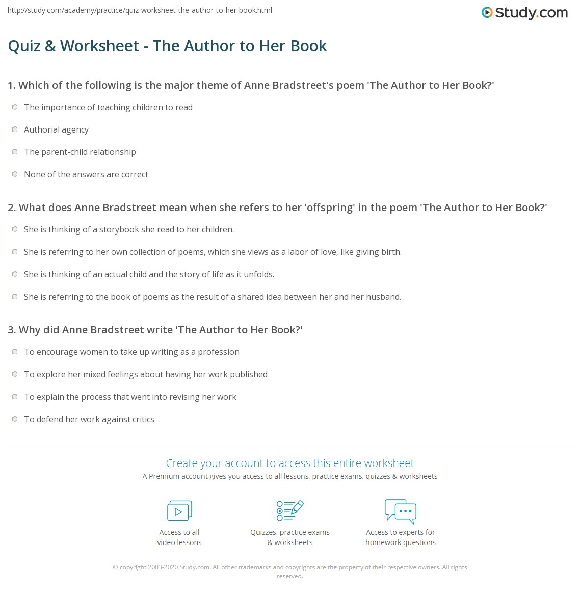 Quiz & Worksheet The Author to Her Book