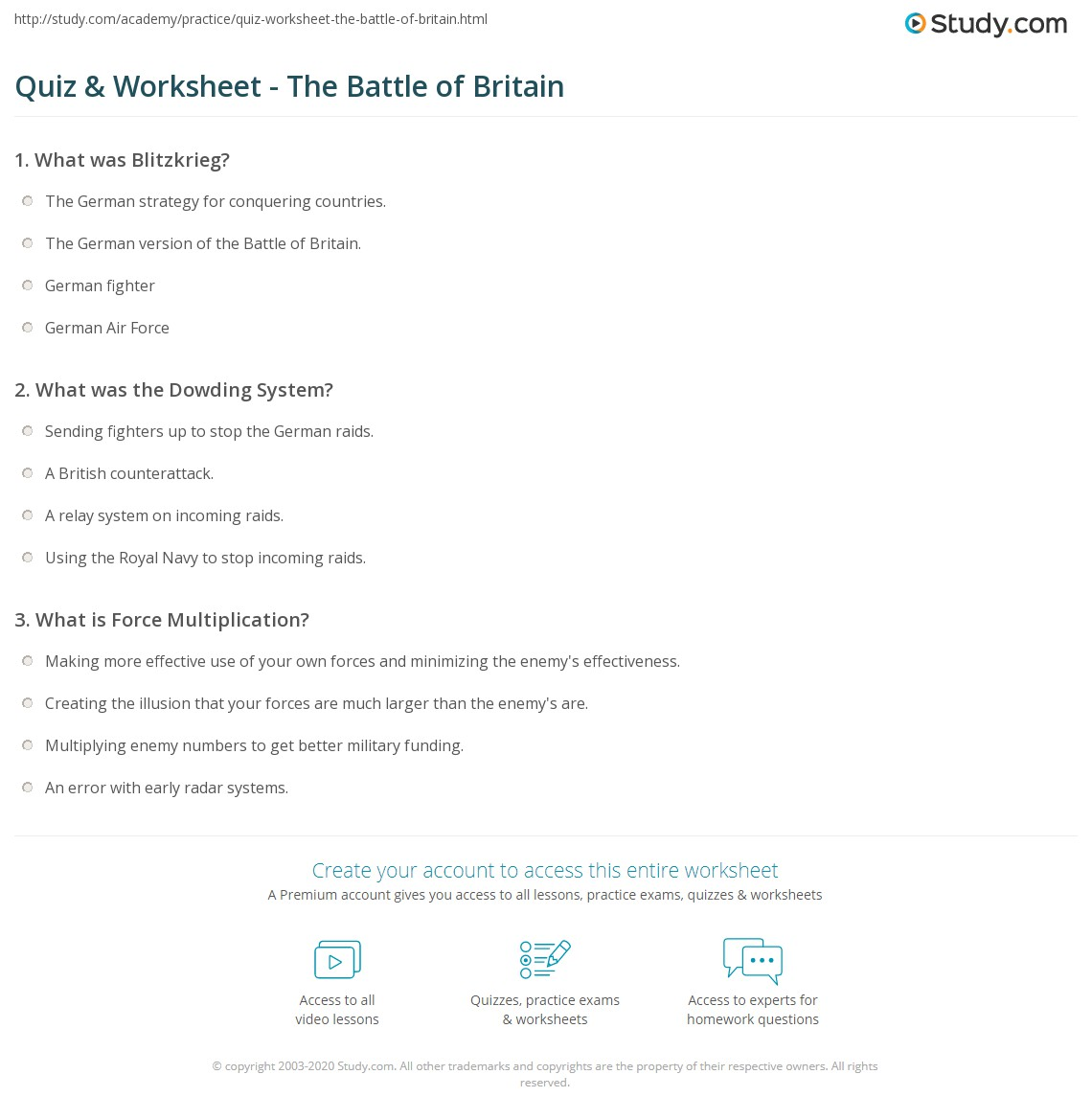 Quiz & Worksheet - The Battle of Britain | Study com