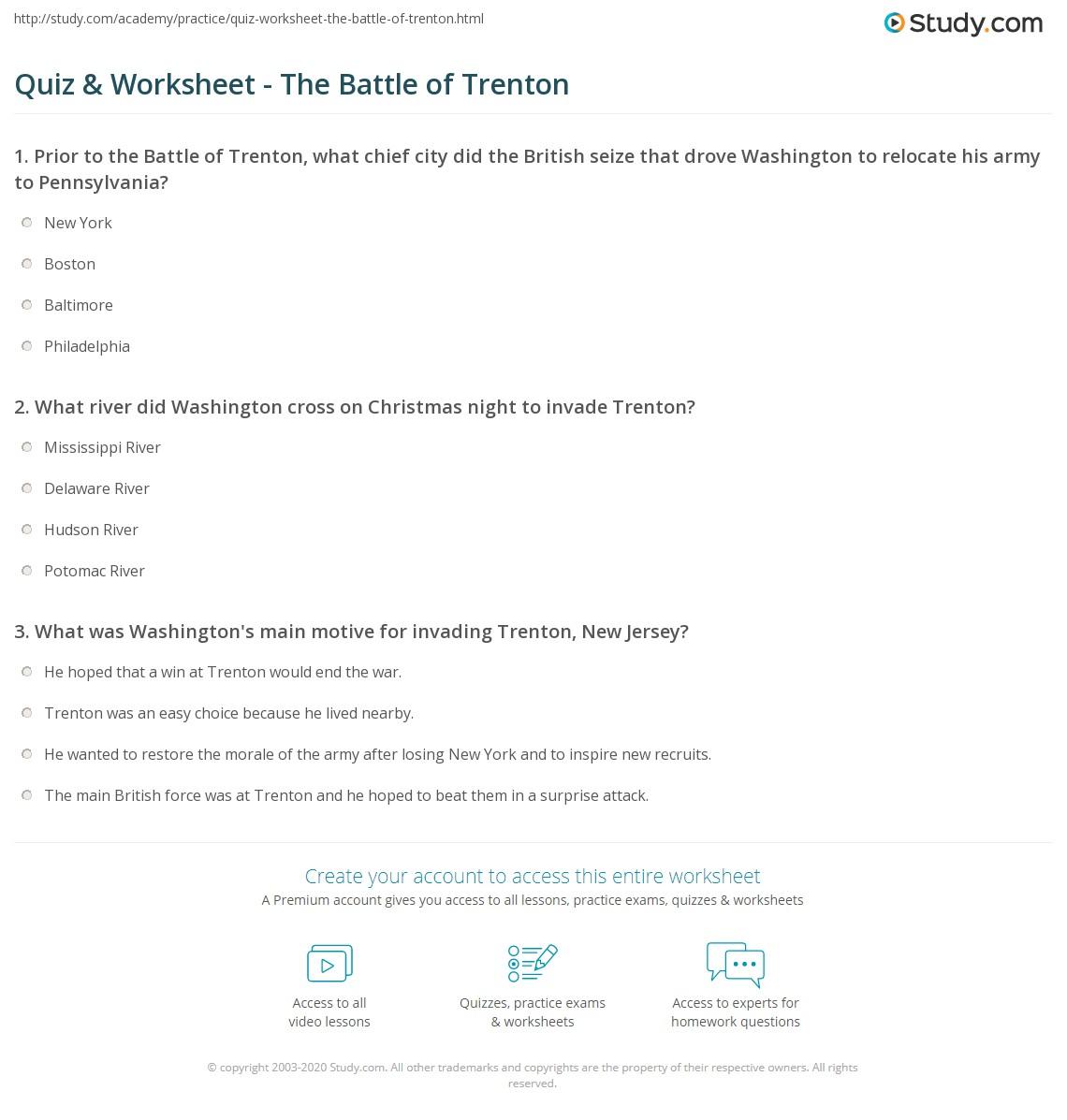 Quiz worksheet the battle of trenton study print battle of trenton summary facts significance worksheet aiddatafo Images