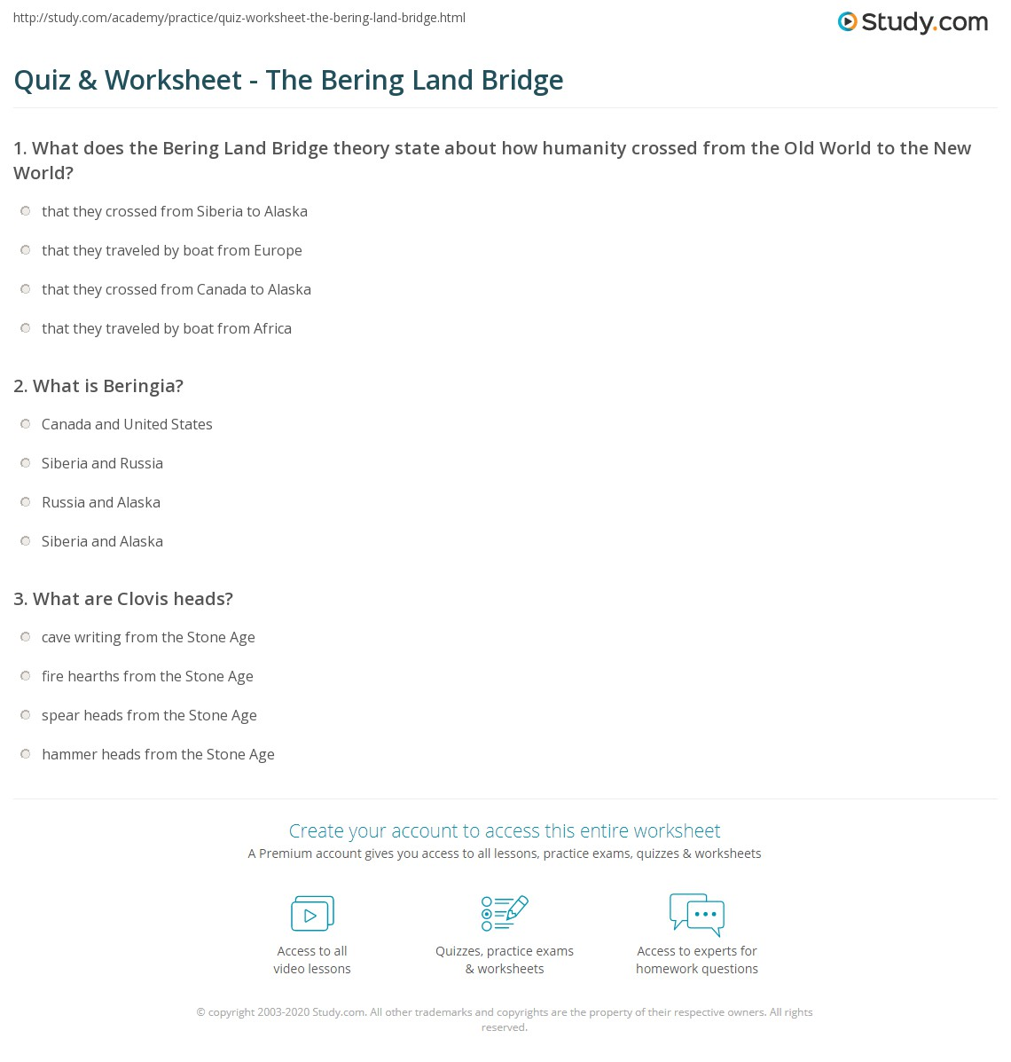 1 what was the beringia land bridge