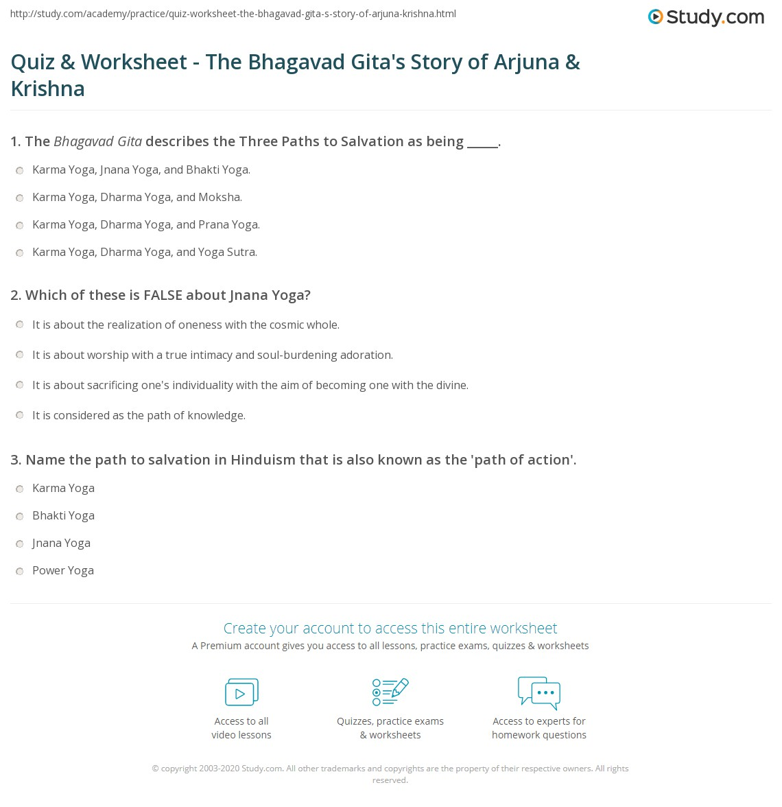 Quiz worksheet the bhagavad gitas story of arjuna krishna print the bhagavad gitas story of arjuna krishna the three paths to salvation worksheet fandeluxe