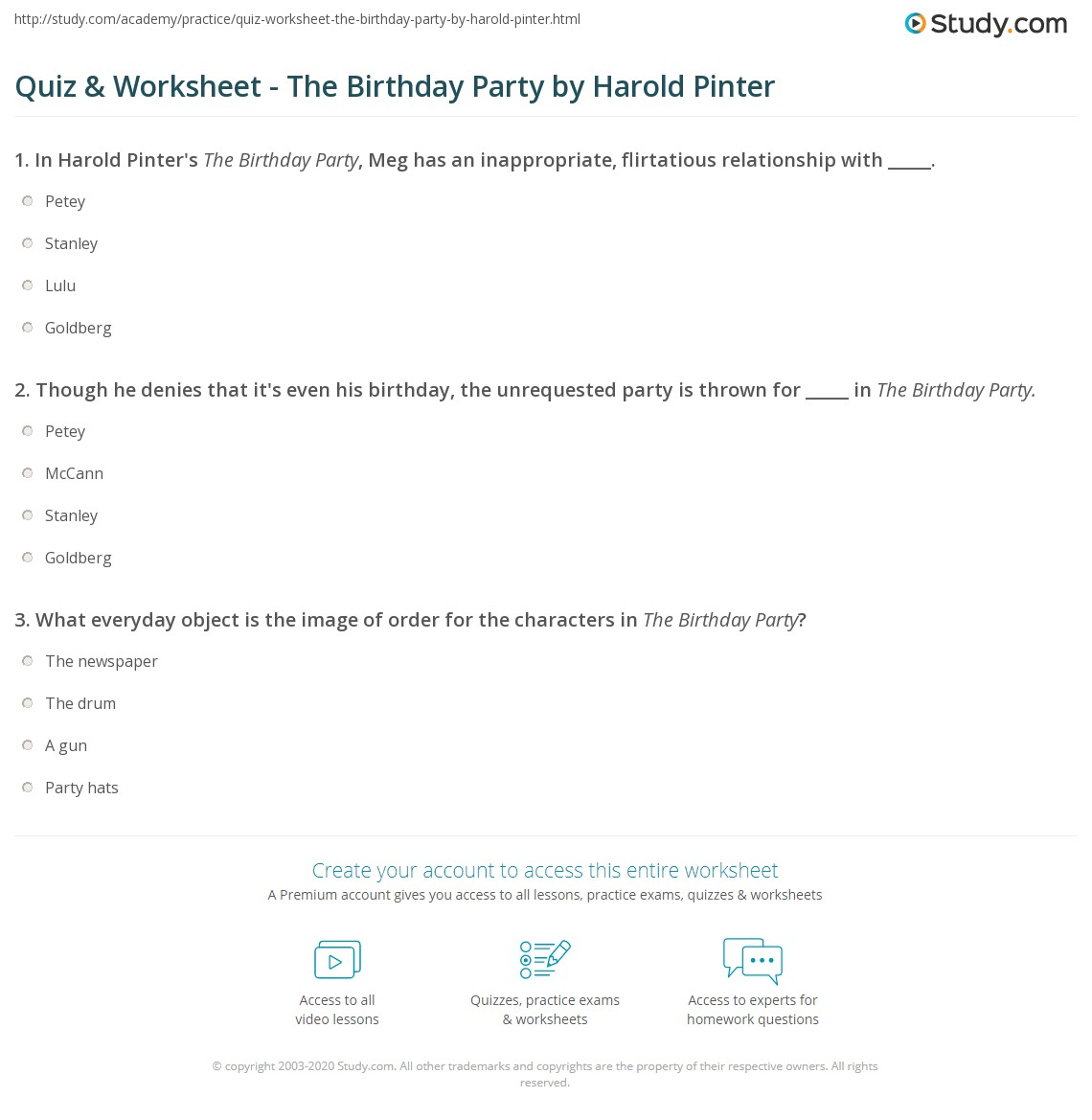 Quiz Worksheet The Birthday Party by Harold Pinter Studycom