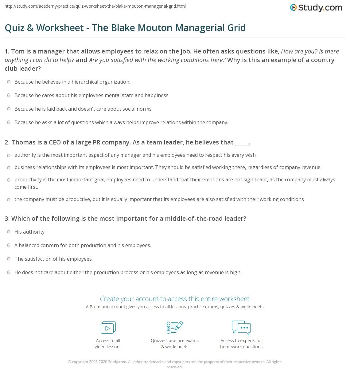 quiz worksheet the blake mouton managerial grid study com print the blake mouton managerial grid five leadership styles worksheet