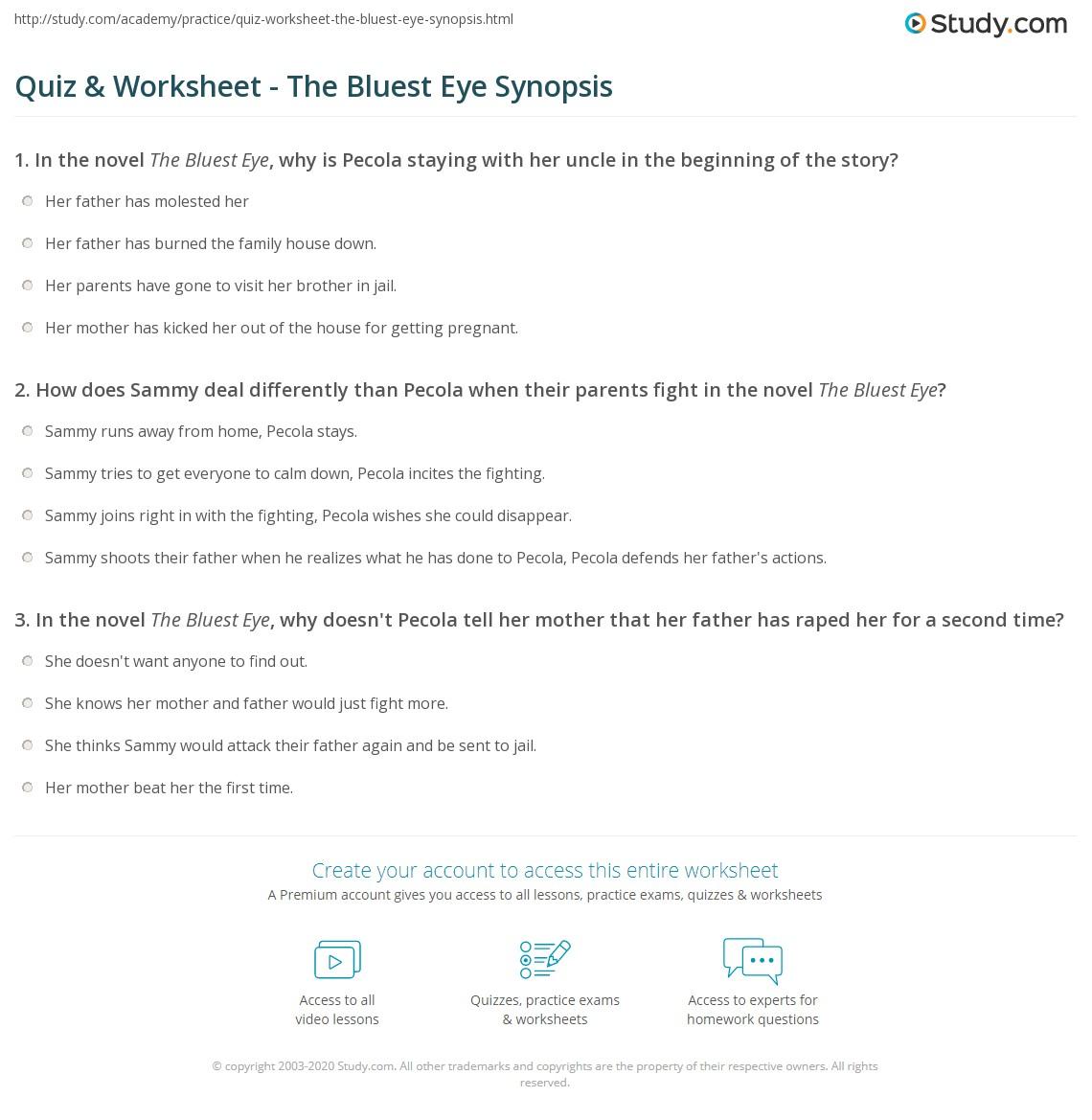 quiz worksheet the bluest eye synopsis com print the bluest eye summary setting worksheet