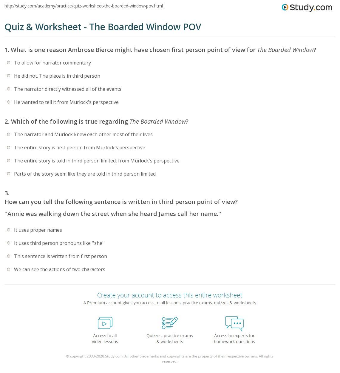 Quiz worksheet the boarded window pov study print the boarded window point of view worksheet ibookread Read Online