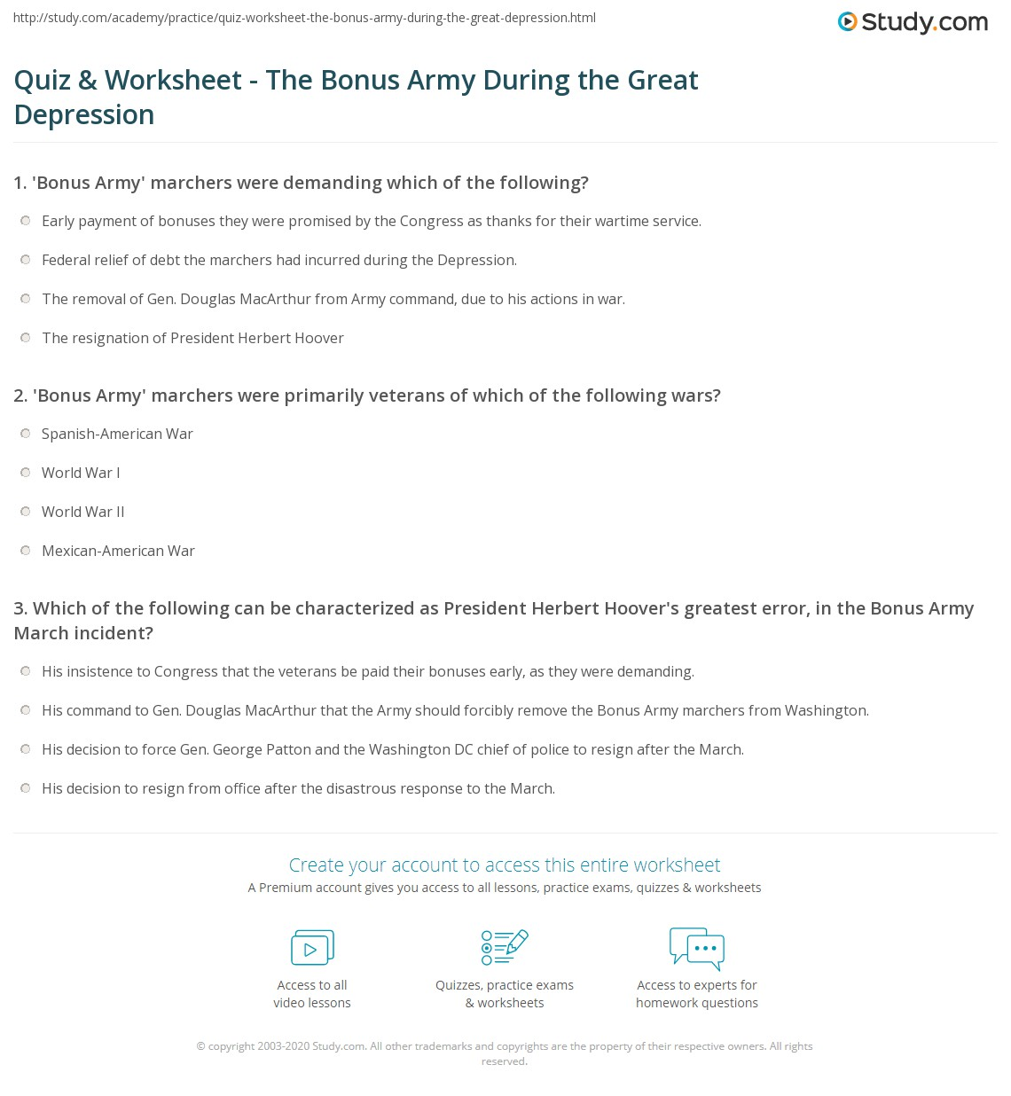 Worksheet Great Depression Worksheets quiz worksheet the bonus army during great