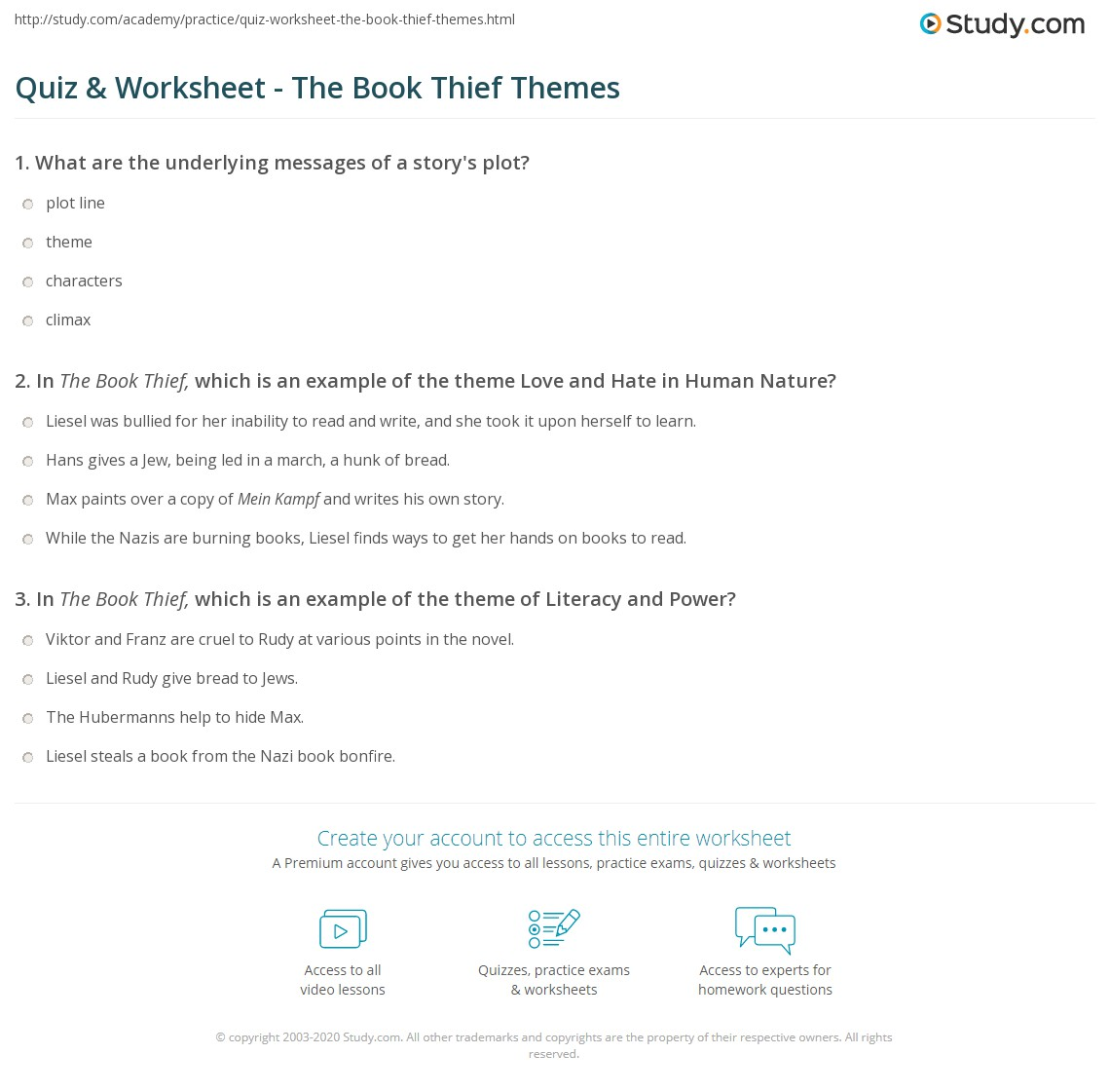 Quiz Worksheet The Book Thief Themes Study