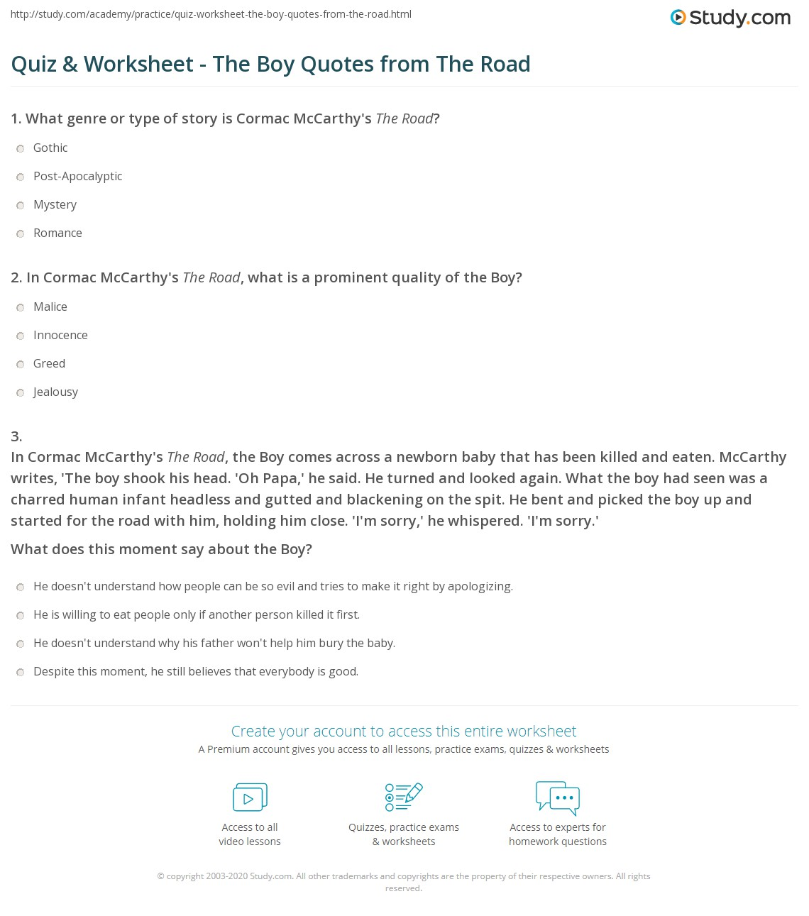 quiz worksheet the boy quotes from the road. Black Bedroom Furniture Sets. Home Design Ideas
