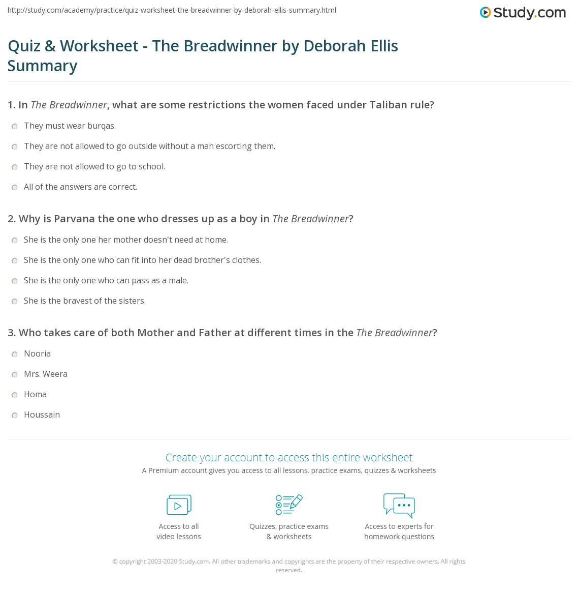 quiz worksheet the breadwinner by deborah ellis summary. Black Bedroom Furniture Sets. Home Design Ideas