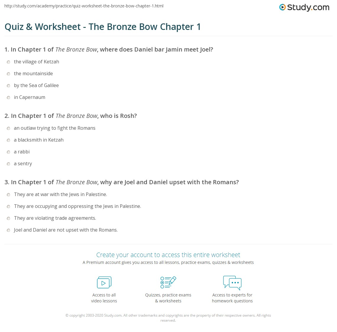 Print The Bronze Bow Chapter 1 Summary Worksheet