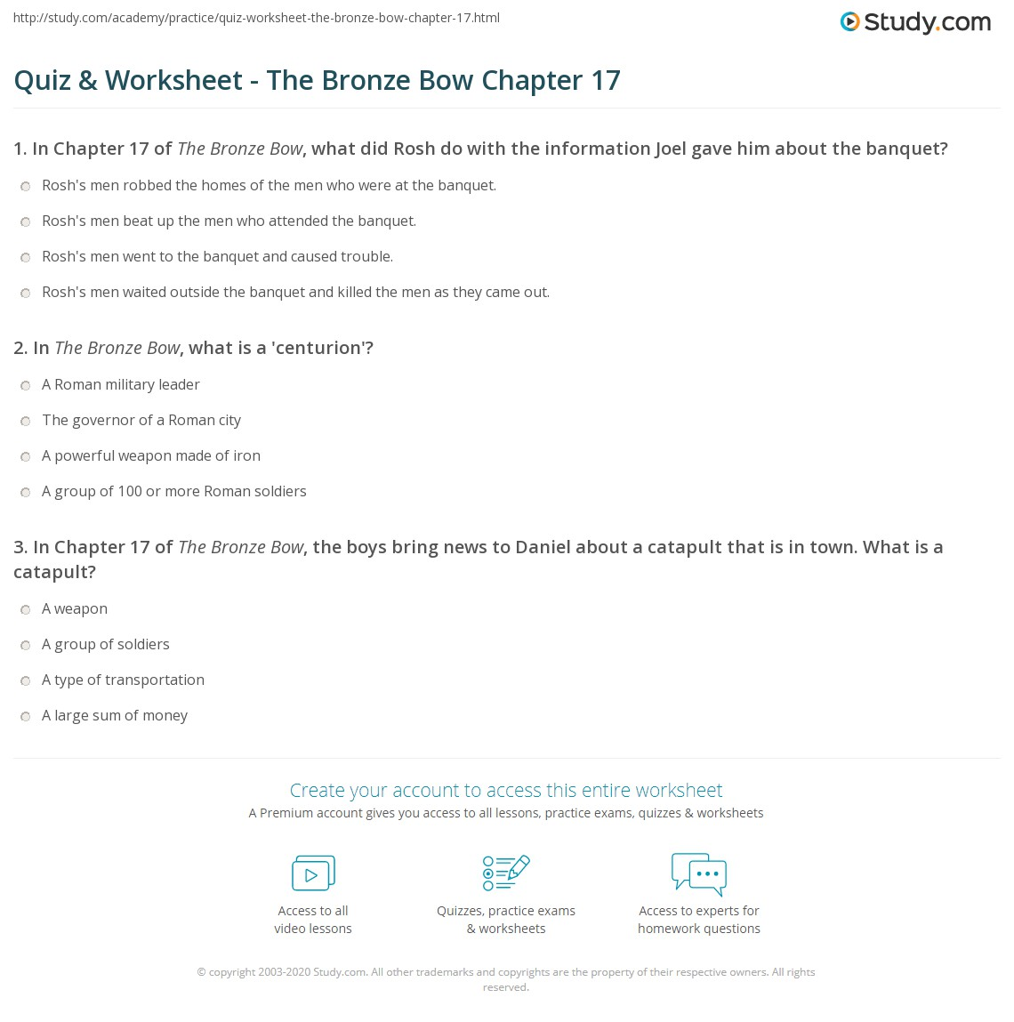Quiz & Worksheet - The Bronze Bow Chapter 17   Study com