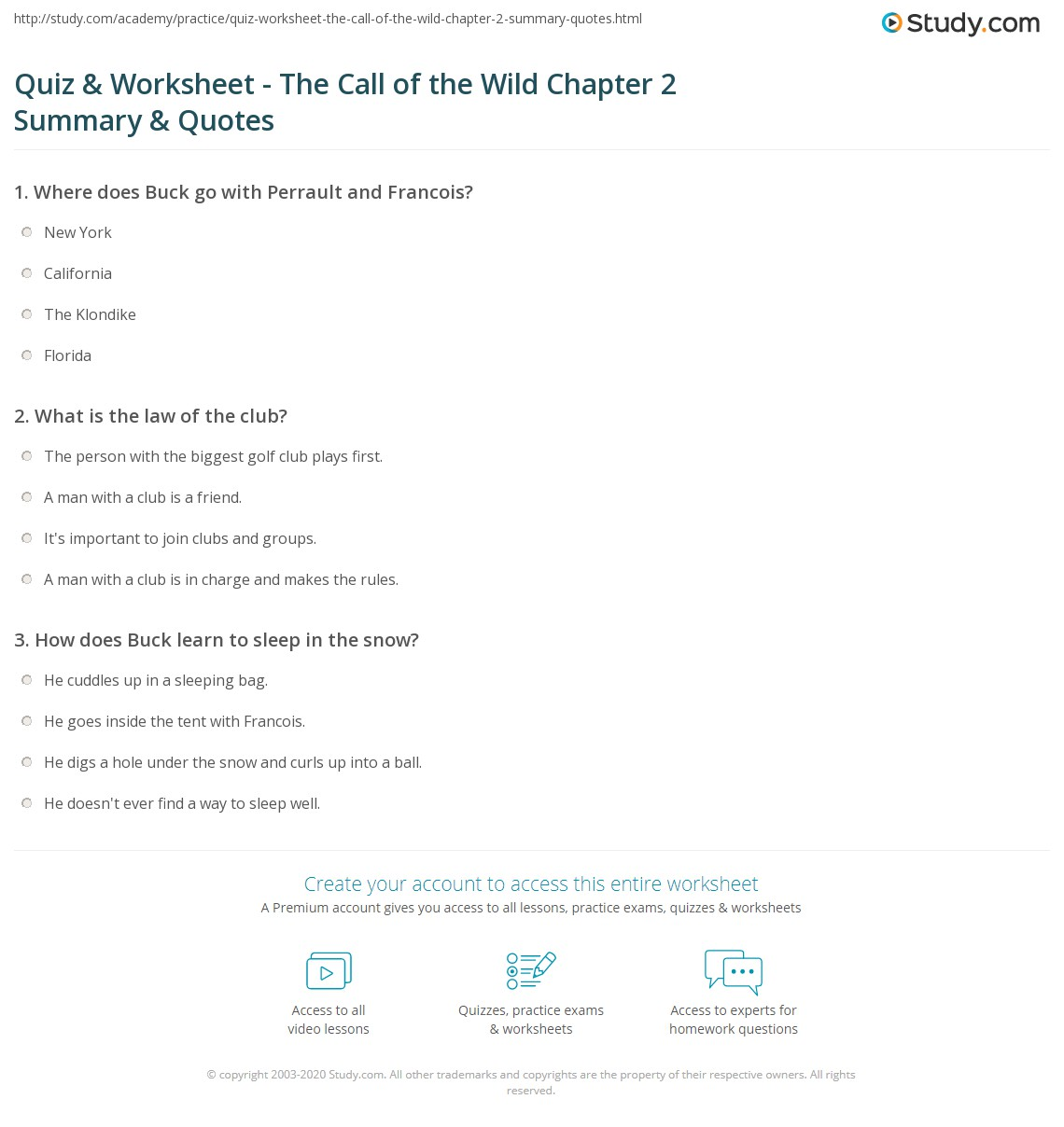 call of the wild essay questions quiz amp worksheet the call of the wild chapter summary amp quotes