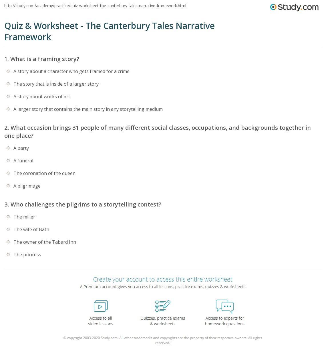 Quiz & Worksheet - The Canterbury Tales Narrative Framework | Study.com