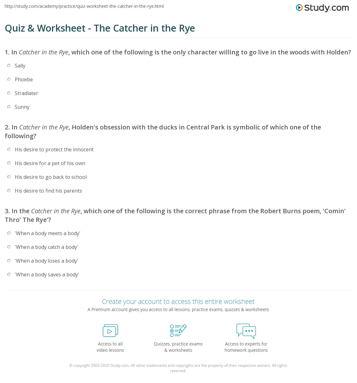 Quiz Worksheet The Catcher In The Rye Study
