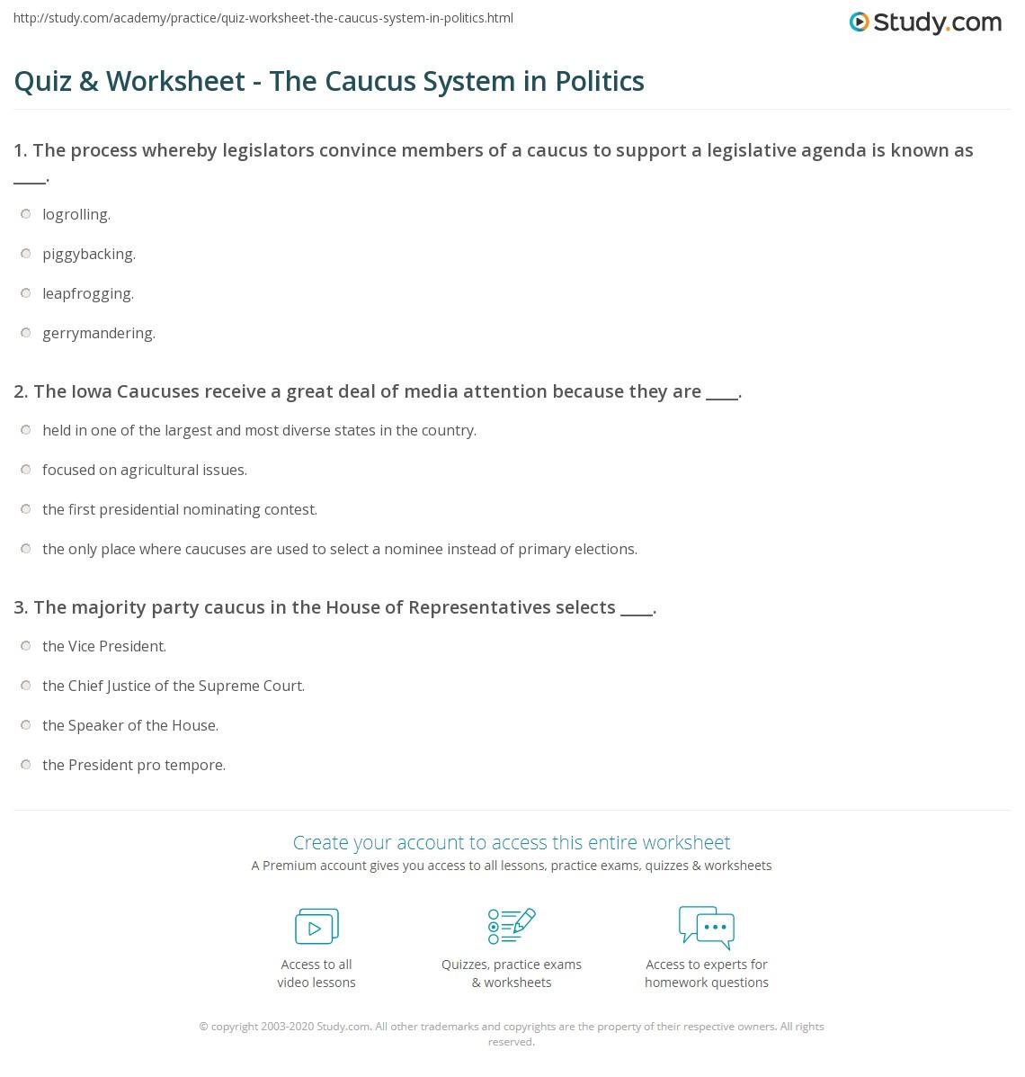 quiz & worksheet - the caucus system in politics | study