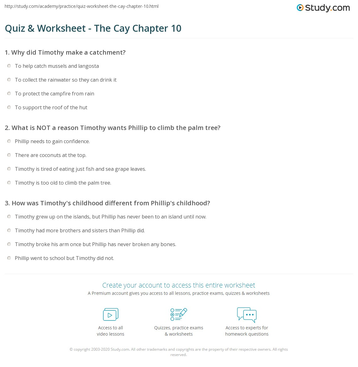 quiz worksheet the cay chapter 10 study com